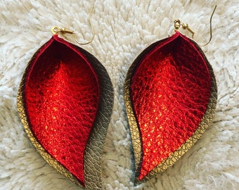 Red & Gold Leather Earrings