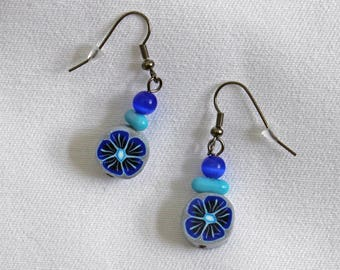 Earrings blue flower and glass beads