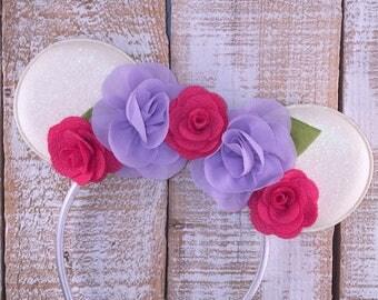 Minnie Ears, Mouse Ears, Hot Pink  Floral Mouse Ear Headband, Girls Birthday Headband, Minnie Bachelorette, Minnie Birthday