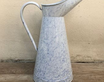 Vintage French Enamel pitcher jug white marbled water enameled 2308179