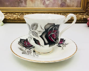 Hamilton black rose teacup and saucer