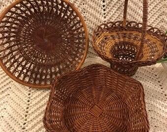 Boho Wicker Basket Set