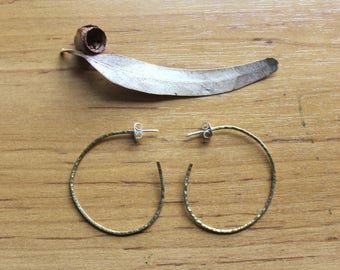 Small Textured Brass Earrings