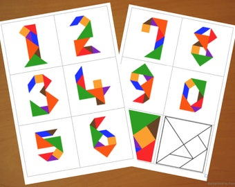 Downloadable Tangram Cards - Tangram Numbers - Tangram Puzzles - Shape Activities - Puzzle for Kids - Downloadable Game - Printable Activity