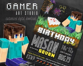 Chalkboard Birthday Invitation | Printable Boy's Gamer Themed Party Invitation - Inspired by Minecraft | Customized With YOUR Details