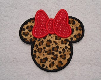 Cheetah Minnie Mouse Iron on Applique Patch