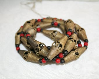 Ashanti beads, brass, brass beads, chain strand,