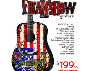 Graphic Acoustic Guitar AMERICA Design by FreakshowGuitars - FREE SHIPPING