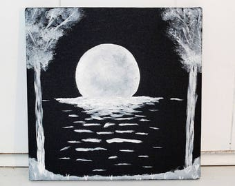 Moon Black and White Acrylic Canvas Painting