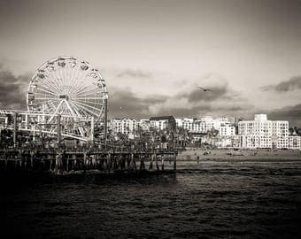 Santa Monica Pier Californina skyline canvas, Santa Monica wall canvas, 3 panel or single panel art, California photo, Ferris Wheel wall art