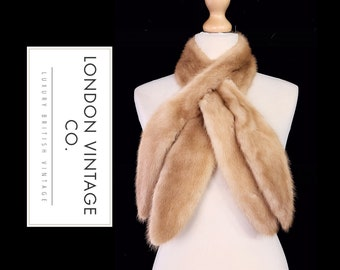 Vintage 1950's fawn/pale brown mink real fur pull through scarf/collar/stole/tippet