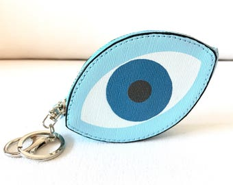 Coin Purse Keychain Wallet, Evil Eye, New Home, Teacher Gift, Housewarming Gift, College Student Gift, Good Luck Gift, Runners Gift