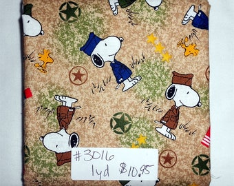 Fabric- 1 yard piece - Military Snoopy/Woodstock/Star/Camo/Brown/Tan/Green Camoflague/USA/Patriotic (#3016) Quilting Treasures Project Linus