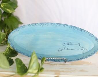 Blue Oval Pottery Rabbit Tray/Handmade Rabbit Dish/Blue Rabbit Tray/Blue Display Tray/Painted Rabbit Tray/Blue Pottery Tray/Hare Dish Decor