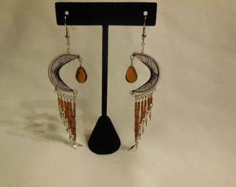 Brown Peruvian Crescent Moon Thread Earrings