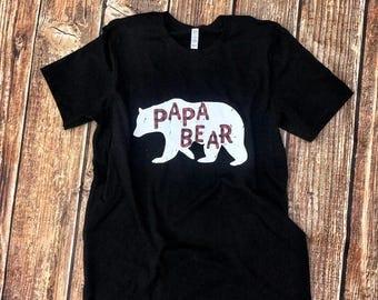 Buffalo Plaid Papa Bear Tee, mama bear, baby bear, papa bear, family shirts