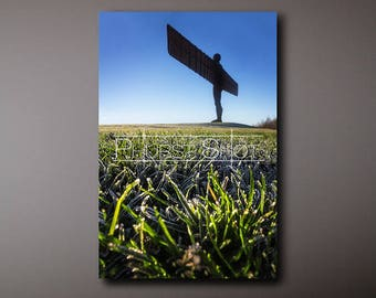 Landscape canvas wrap, Angel of the north, winter photography, Landscape print, Fine art photography, frozen winter field, silhouette image