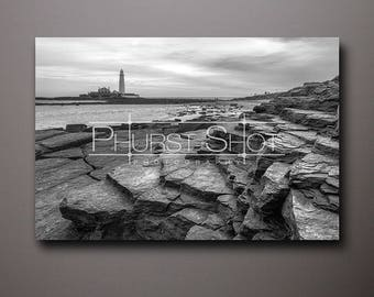 Seascape canvas print, St Marys Lighthouse fine art image, Black white, Lighthouse photo, Whitley Bay, North East Seascape, rock pool shot