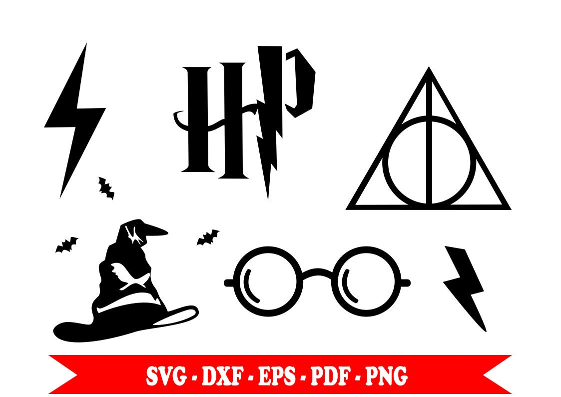 Harry Potter Svg Symbols Clip Art Digital Download Eps Dxf