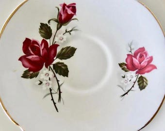 Royal Westminster Orphan Bone China Saucer Red Roses Pattern Replacement Saucer Only No Teacup