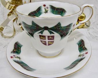 "Royal Adderley ""Newfoundland Tartan"" Fine Bone China Footed Teacup and Saucer Birthday/Souvenir/Christmas/Housewarming Teacup Gift"