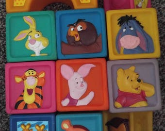 Vintage Winnie the Pooh Soft 11 Piece Block Set Lot Tigger Rabbit Piglet Owl Bumblebees Square Bridge Triangle Building Toddler Infant Baby