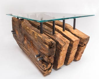Industrial Coffee Table RENEGAT - 100 year old larch wood - Modern Industrial - SparkCraft Design
