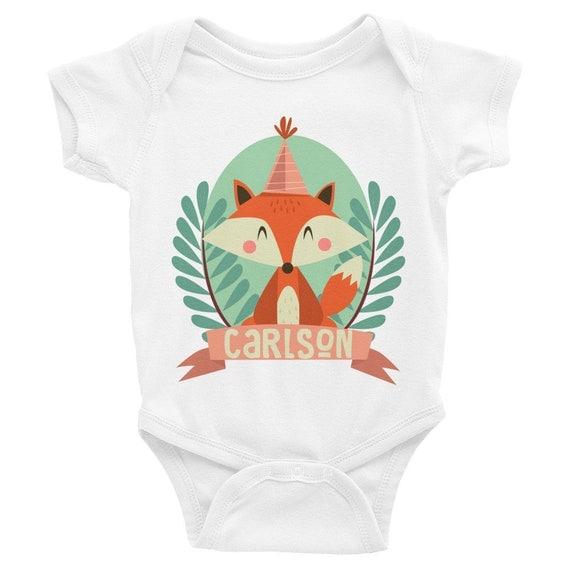 Personalized Fox Birthday Onesie, boho onesie, fox baby, fox onesie, fox baby clothes, fox outfit, fox bodysuit, cute onesies, baby onesies