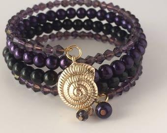 Ursula Bracelet, Disney's Ursula Bracelet, Little Mermaid Bracelet, Sea Witch Bracelet, Shell Bracelet, Beaded Wrap Bracelet, Memory Wire