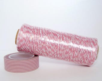 Bakers Twine string - 1O0 m - pink and white 4 ply - gift wrapping, food, decor, scrapbooking