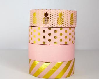 Set of 4 pink Washi Tape: pink, gold, gold dots and Golden - pineapple stripe spring pantone - packaging - decoration