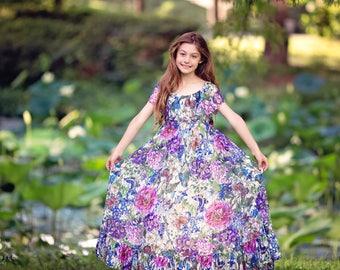 Girls Lace Dress, Boho Flower Girl Dress, Girls Floral Maxi Dress, Floral Lace Dress, Boho Wedding, Bohemian Dress, Couture Dress