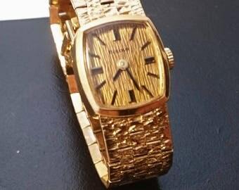 Vintage 1970's ladies gold plated bark effect bulova wrist watch, non working, 17 jewel vintage bulova Swiss wrist watch