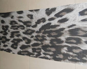 Leopard Digital Print Scarf – Grey Black Brown Leopard Scarf - Animal Print Scarf - Printed Fabric Stole - Women Fashion Accessories