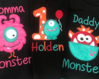 Monster family birthday party shirts/ first birthday monster party/Embroidered monster birthday shirts/monster theme birthday party shirts