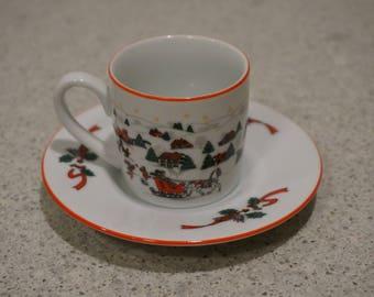 Vintage Finest Porcelain Coffee Set-Kopin, Christmas Pleasure/Set of 6 Espresso Cup & Saucers/Ensemble de 12 pièces de café