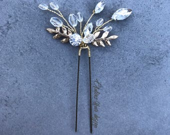 Hair Pin, Wedding Accessories, Accessories, Bridal Hair Piece, Gold Hair Piece, Leaf Hair Piece