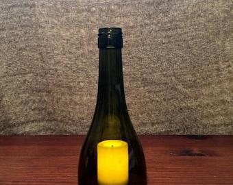 Wine bottle candle holder-dark green