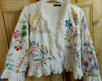 Reserved  for  Nosilamg Vintage embroidery crazy patchwork jacket  - white linen jacket - art wear - Ooak - UK size 14 - preloved to reloved