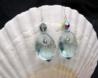 Aquamarine, Swarovski, and Sterling Silver Earrings