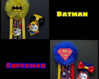 Batman/ Superman Baby Shower Corsage/ Mommy to be/ Daddy to be/ Batman Pin/ Superman Pin/ Batman/ Superman/ Superhero Baby Shower
