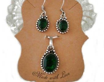 Emerald Green Quartz Pendant Set