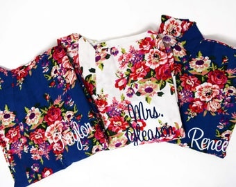 Bridesmaid Floral Robe, Jr Flower Girl Robe, Bridesmaid robes, cotton floral robe, bridal party robe,  bridesmaid gift, personalized robes
