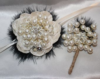 Hand Made COMBO Bridesmaid Made of Honor Groom  Corsage and Boutonniere Pearl Rhinestone Feather Puff