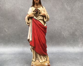 Huge 52cm 20.5 inches Vintage French Chalkware Plaster Statue of Jesus Christ Sacred Heart. Rich elegant colours