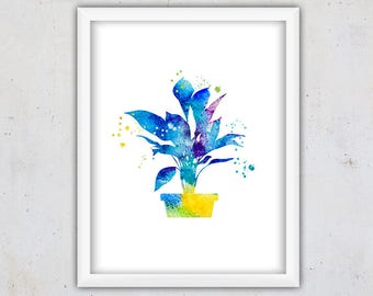 Flower Pot Print, Nursery Girl Decor, Watercolor Print, Botanical Art Print, Instant Download Printable Art, Digital Art Girl, Kids Art