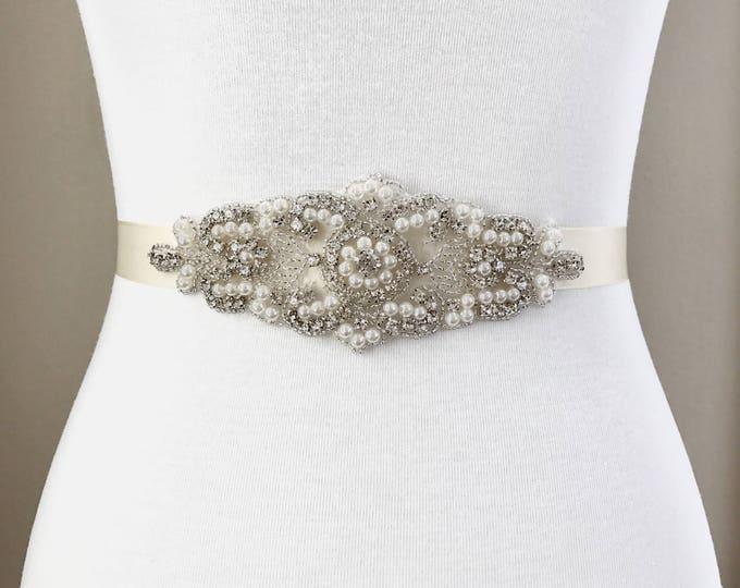 Bridal Belt, bridesmaid belt, Bridal Sash, Wedding Belt, Wedding Sash Rhinestone and Pearl Sash
