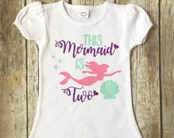This mermaid is two birthday shirt