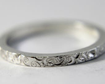 Silver Textured Wedding Ring
