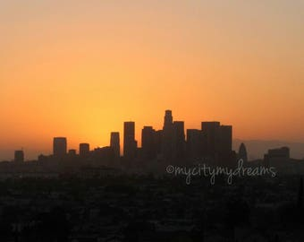 Photograph of Los Angeles City Skyline at Sunset.